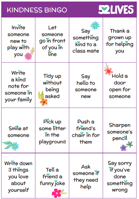Kindness Bingo Game